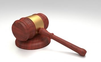 gavel with white background